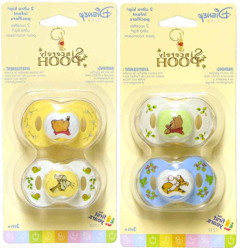 2 sincerely winnie pooh infant baby pacifiers