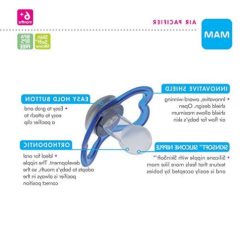 MAM Sensitive Baby Pacifier 6+ Babies, 'Air' Collection, Girl, 2-Count