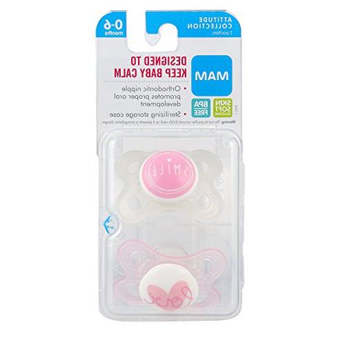 MAM Pacifier 0-6 Best Pacifier for Breastfed Design Collection, Girl,