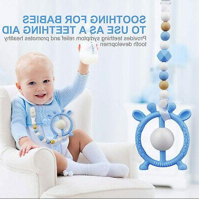 Baby Teether Toys Pacifier Clip with Silicone Teething Set S