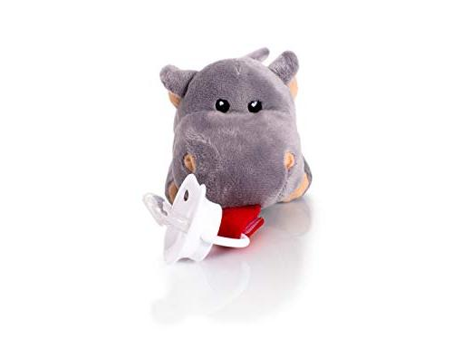 Binky Holder by Riddle! Hippo Animal Pacifier with Baby for 0-6 Months - All Infant Grows! Lightweight and Plushies