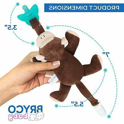 Bryco Pacifier with Stuffed Attached Monkey Plush Pacifier