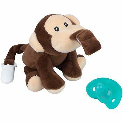 by pacifier with stuffed animal attached monkey