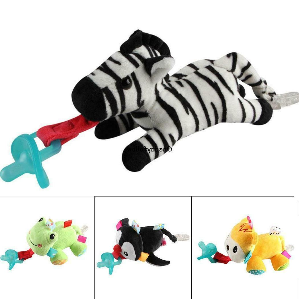 Cartoon Animal Pacifier Clips Plush Doll Baby Pacifier Holde