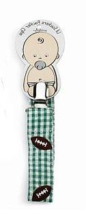 Baby Sports Embroidered Pacifier Clip- FOOTBALL - 174439