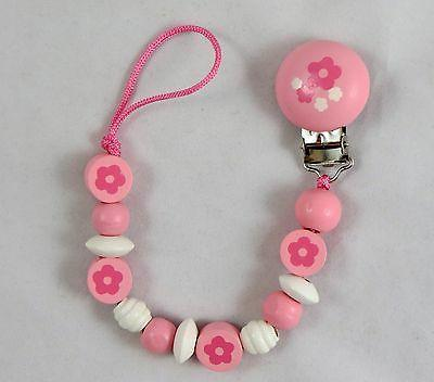 Girls flower pink Wood clip Soothie pacifier holder clip per