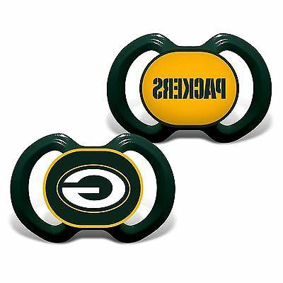 Green Bay Packers Pacifiers 2 Pack Set Infant Baby Fanatic B