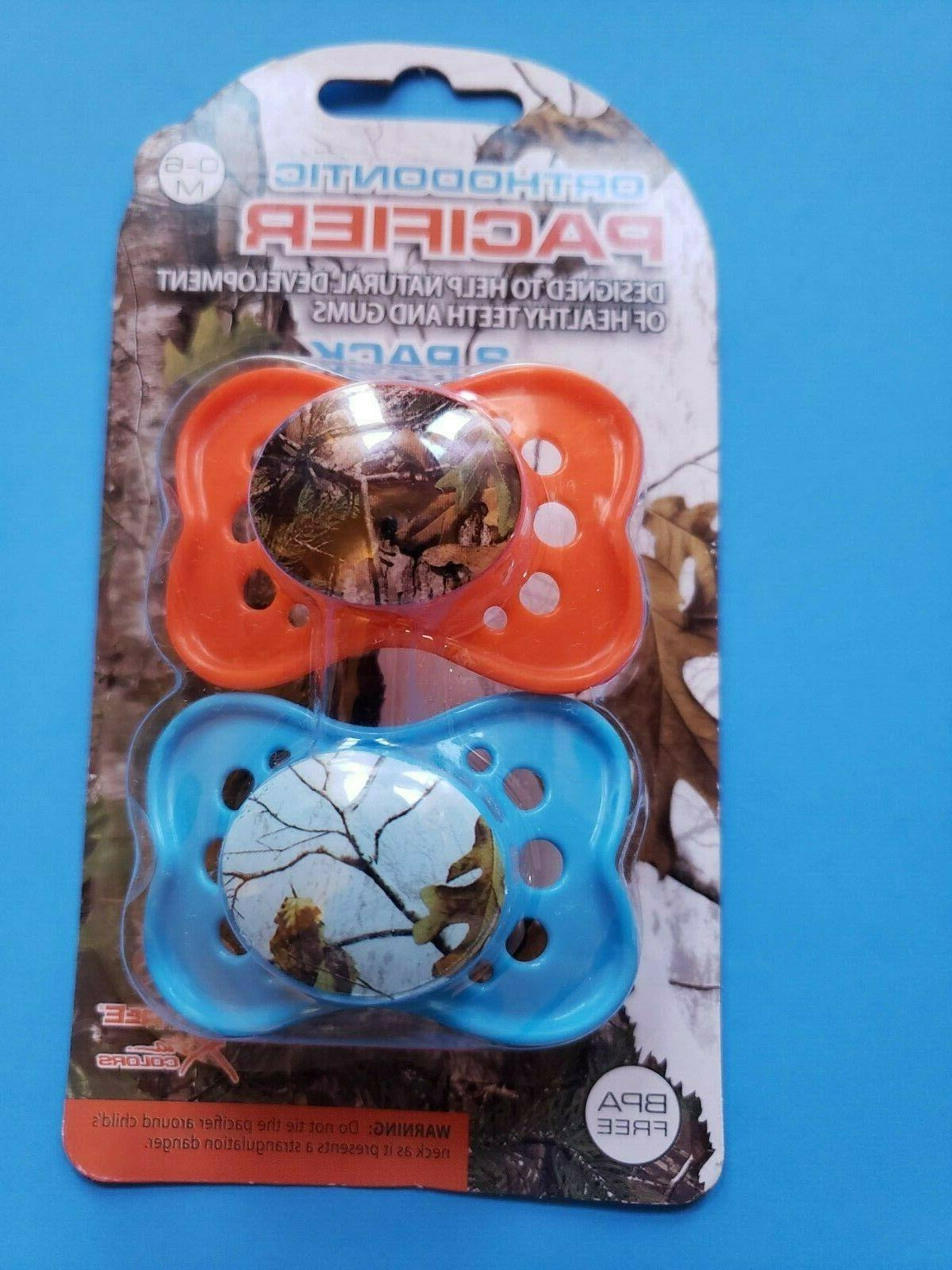 INFANT BOYS  REALTREE ORTHODONTIC 2 PACK PACIFIERS BPA FREE