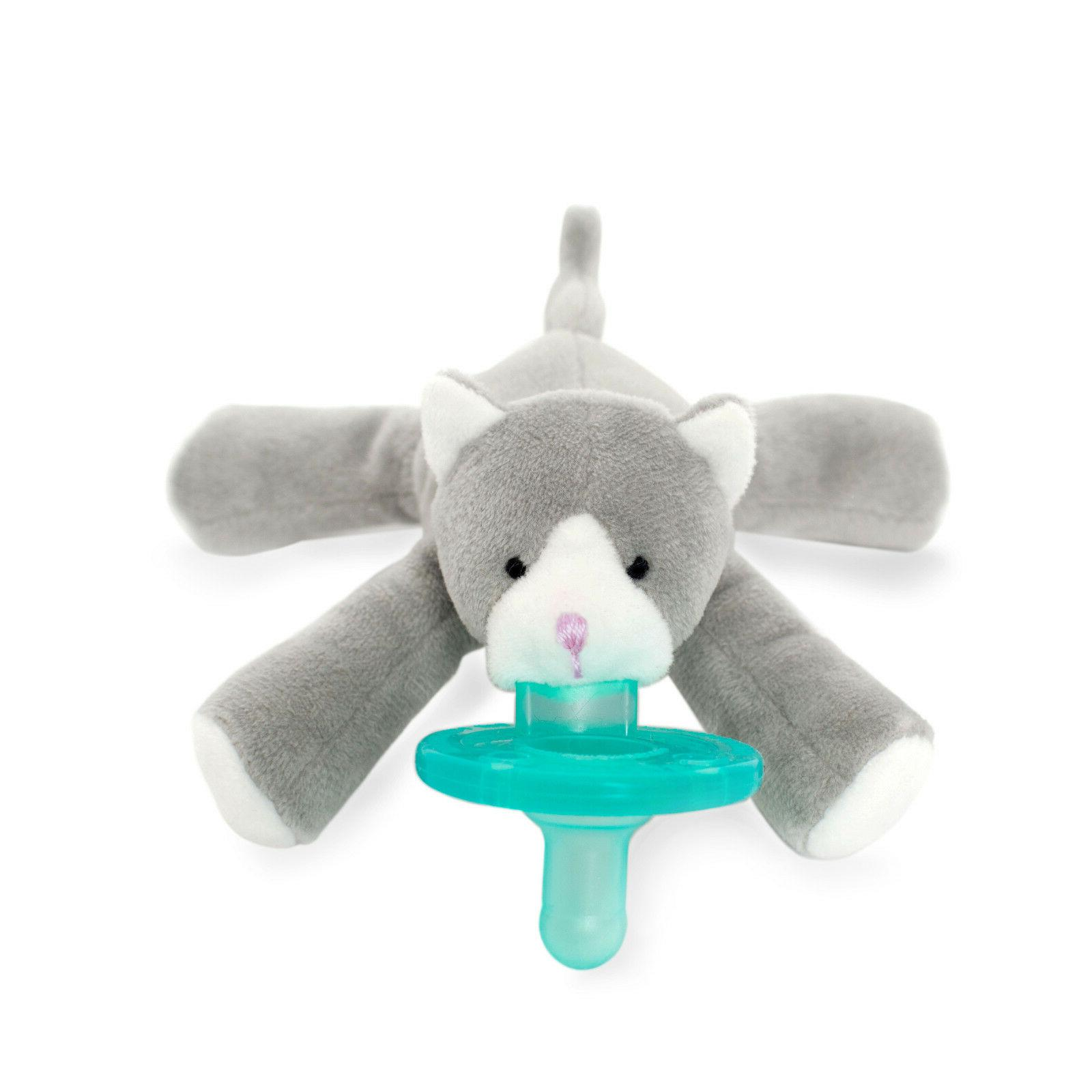 NEW~WubbaNub Infant Baby~Soothie Pacifier~Silicone~0-6M~Grey Kitten