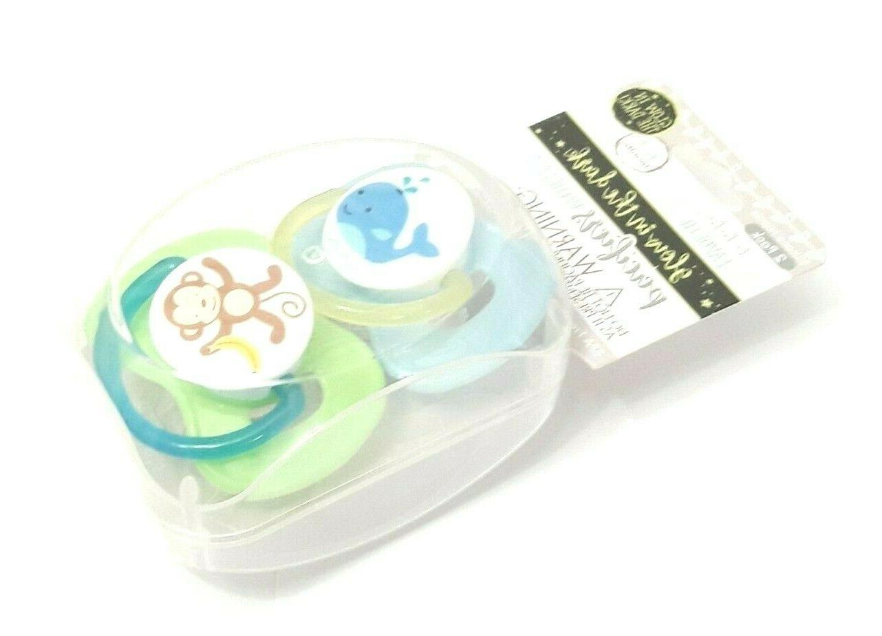 new set of 2 monkey whale pacifier