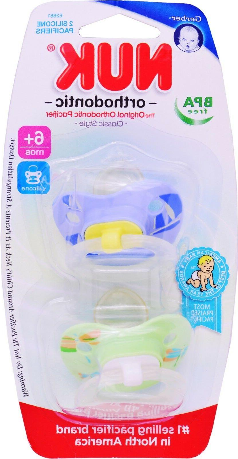 orthodontic 2 silicone pacifiers 6 months bpa
