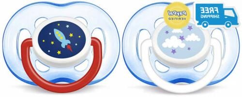 orthodontic pacifier blue rocket and cloud 18