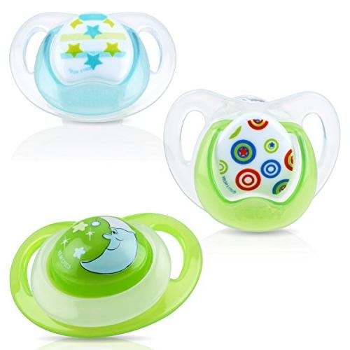 Nuby Orthodontic Pacifiers Set, 0-6