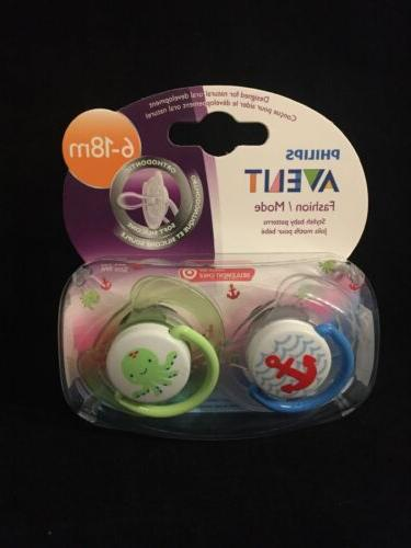 orthodontic silicone pacifier 2 pack nautical octopus