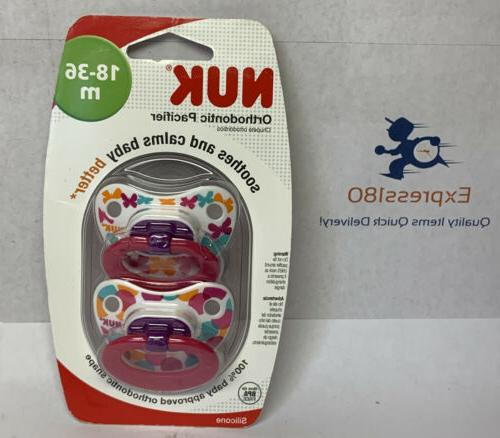 NUK 18 Months 2 Pack Fashion Orthodontic Silicone Pacifier -