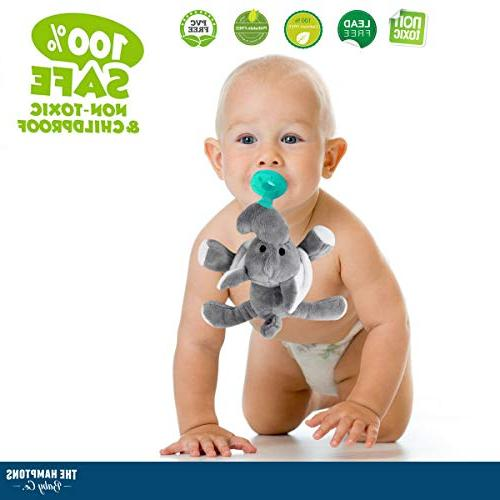 Baby Attached Stuffed Soothie for Child- Teething Infant - Animal for - BPA-Free, Unisex for Boys Girls
