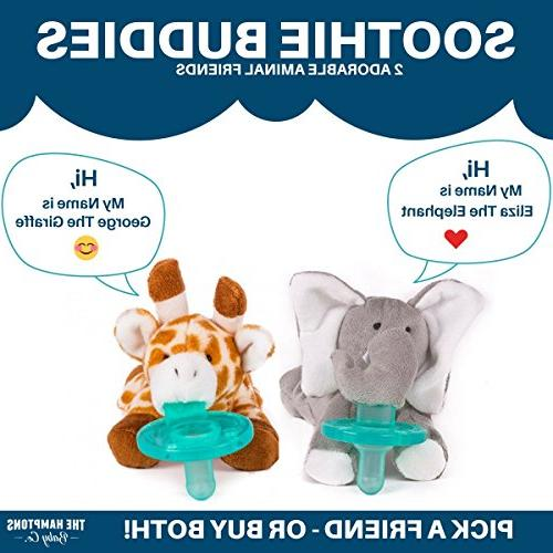 Baby Pacifier with Animal Attached - Stuffed Elephant Soothie Paci & for Your Infant - Baby for Newborns Unisex Boys Girls