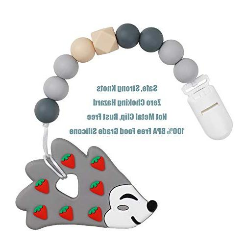 Pacifier Clip Baby Silicone Clip Relief Teether Soothie Binky Holder Gift Set
