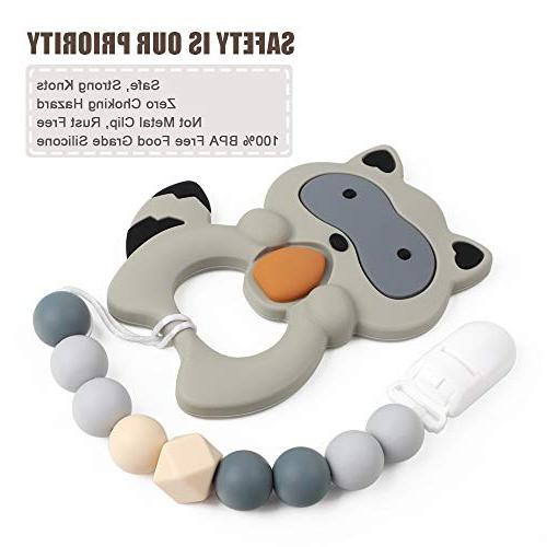 Pacifier Clip Silicone Paci Relief Binky Holder Chewbeads Christmas Gift Set 2