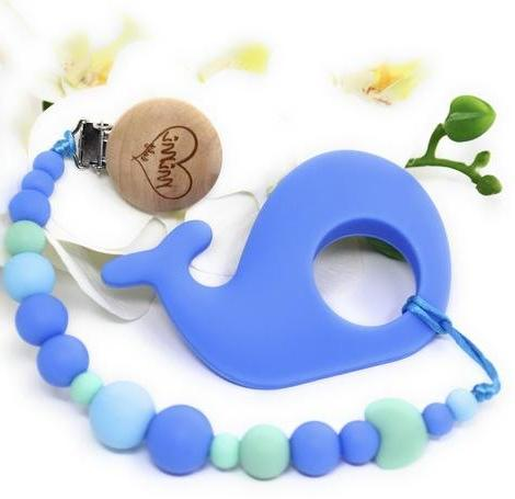 pacifier clip teether whale