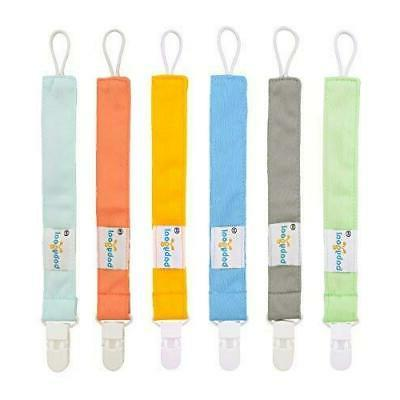 pacifier clips 6 pack holder for pure