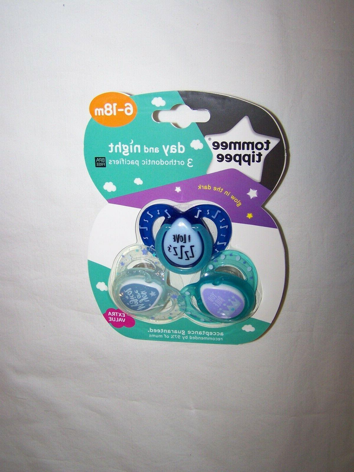 package of 3 orthodontic silicone pacifiers glow