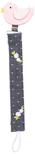 Mud Pie Baby Pacy Clip, Chick Chambray, One Size