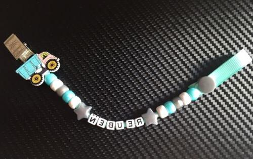 Personalized Dummy Clips for Boys Holder/Strap: cars, trucks
