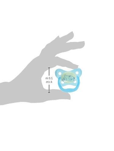 Dr. Brown's PreVent Contour Glow in the Dark Pacifier, 3 Blue,