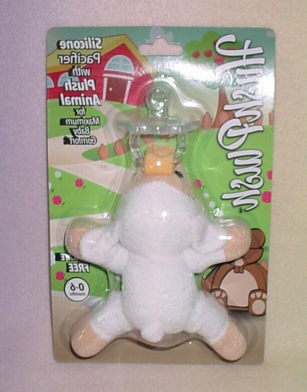 silicone pacifier with plush animal lamb new