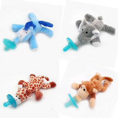 stuffed animal attached silicone material baby pacifier