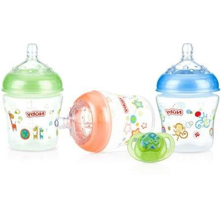 Nuby Natural Touch Pack 6 Ounce Infant Bottle Bonus Pacifier - and Aqua
