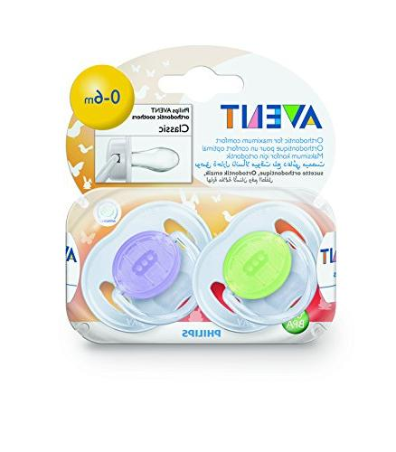 Philips AVENT Translucent Pacifiers, 0-6 Months, 2 Clear