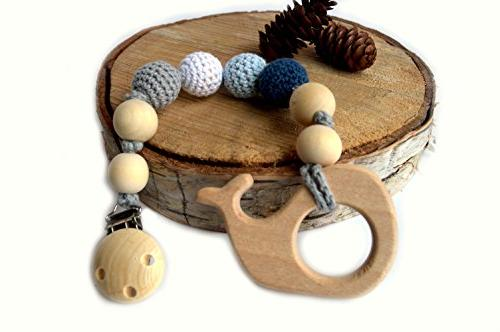 wooden teething toy pacifier holder