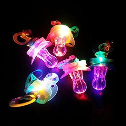 6 Pieces Light up Blinking Joke Pacifier Toy LED Pacifier Wh