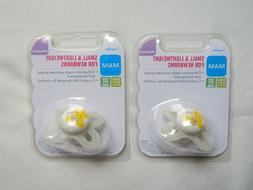Lot of 2 MAM Small & Lightweight Newborn Pacifiers BPA BPS F