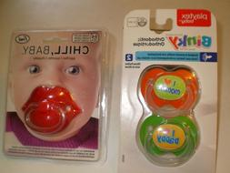 LOT OF 3 NEW PACIFIERS - LIPS - MOM AND DAD