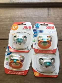 Lot of 4 NUK Baby Pacifiers Orthodontic Silicone BPA-Free 0-
