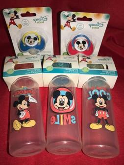 Disney Lot Of 5-Mickey Mouse 3 Baby Bottles & 2 Orthodontic