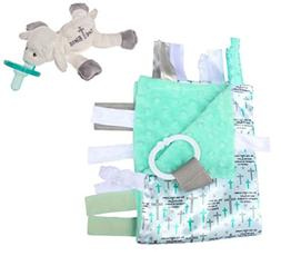 Lovey Baby Tag Minky Dot Blanket Bundle with Wubbanub Pacifi