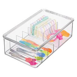 mDesign Stackable Plastic Storage Organizer Container for Ki