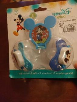 Disney Mickey Mouse 3-Piece Orthodontic Pacifier & Holder Se
