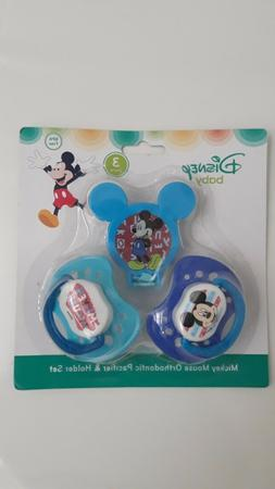 Disney Mickey Mouse and Pacifier Clip Set, Blue, 2 Count