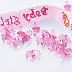 144pcs Mini Acrylic Baby Pacifiers Baby Shower Favors Pink B