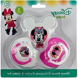 Disney Minnie Mouse and Pacifier Clip Set, Pink, 2 Count