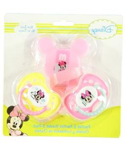 "Minnie Mouse ""Little Sweetie"" Pacifier & Clip 3-Pack - pink,"