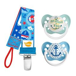 Ulubulu Momma's Boy and Blue Anchor Designs/Pacifier, 6-18 M