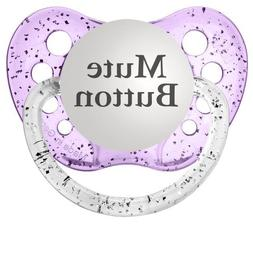 Personalized Pacifiers Mute Button Pacifier, Glitter in Purp