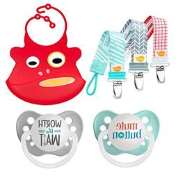 Ulubulu Mute Button and Worth The Wait Design/Pacifier, 0-6