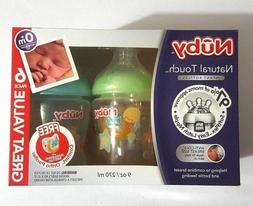 Nuby Natural Touch 6 Pack 9 Ounce Infant Bottles with Bonus